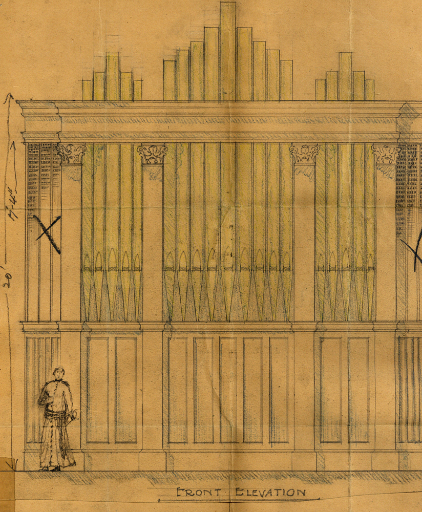 Case Drawing of Skinner Organ, Op. 544 (1925) in St. Paul the Apostle R.C. Church (New York City, NY) - via OHS Archives
